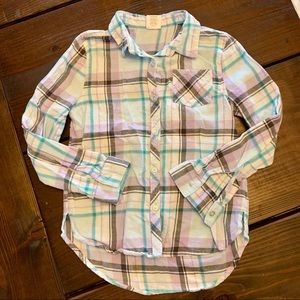 NWOT Girls Blue Purple Gray Plaid Button Down 7